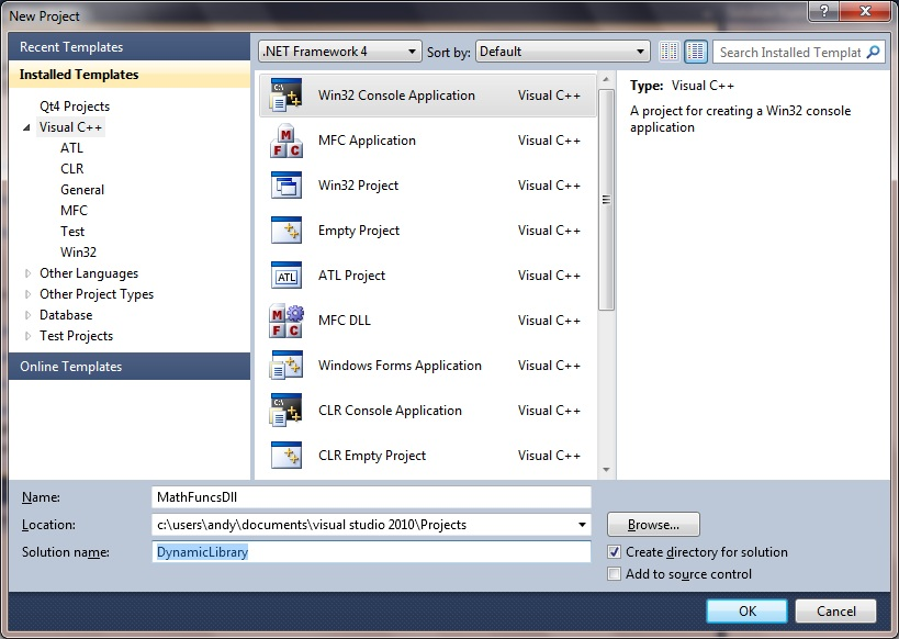 visual studio c++ project from existing code