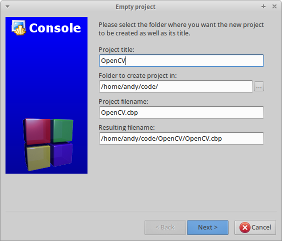 Configure Code::Blocks to use OpenCV in Linux Environments